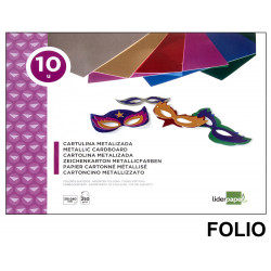 Bloc de trabajos manuales - cartulina metalizada liderpapel en formato folio de 250 grs/m². con 10 colores surtidos.