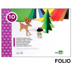 Bloc de trabajos manuales - cartón ondulado liderpapel en formato folio de 160 grs/m². con 10 colores surtidos.