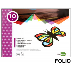 Bloc de trabajos manuales liderpapel con 10 hojas de papel celofán 315x240 mm. en colores surtidos.