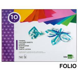 Bloc de trabajos manuales liderpapel con 10 hojas de papel charol 315x240 mm. en colores surtidos.