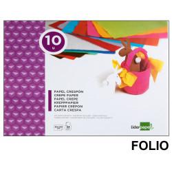 Bloc de trabajos manuales liderpapel con 10 hojas de papel crespón 315x240 mm. en colores surtidos.