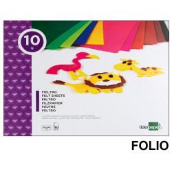Bloc de trabajos manuales - fieltro liderpapel en formato folio de 180 grs/m². con 10 colores surtidos.