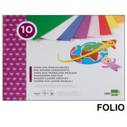 Bloc de trabajos manuales liderpapel con 10 planchas de goma eva 315x240 mm. en colores surtidos.