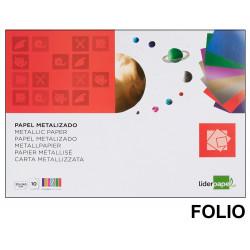 Bloc de trabajos manuales - papel metalizado liderpapel en formato folio de 90 grs/m². con 10 colores surtidos.