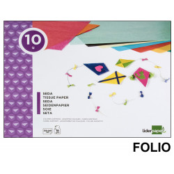 Bloc de trabajos manuales liderpapel con 10 hojas de papel seda 315x240 mm. en colores surtidos.