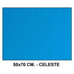 Cartón ondulado liderpapel en formato 50x70 cm. de 320 grs/m². color celeste.