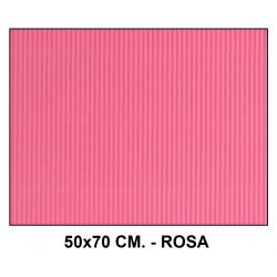 Cartón ondulado liderpapel en formato 50x70 cm. de 320 grs/m². color rosa.