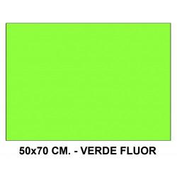 Goma eva liderpapel en formato 50x70 cm. de 60 grs/m². color verde flúor.