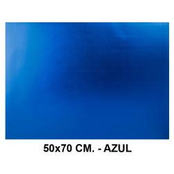 Goma eva metalizada liderpapel en formato 50x70 cm. de 60 grs/m². color azul.