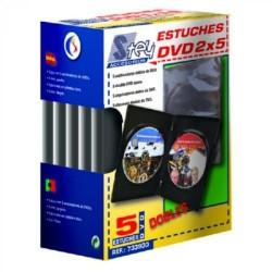 Pack de 5 estuches de plástico stey para cd/dvd´s.
