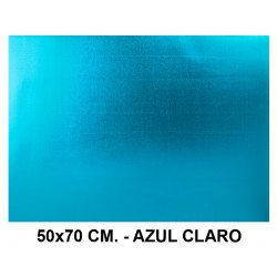 Goma eva metalizada liderpapel en formato 50x70 cm. de 60 grs/m². color azul claro.