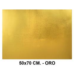Goma eva metalizada liderpapel en formato 50x70 cm. de 60 grs/m². color oro.