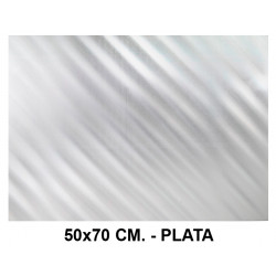 Goma eva metalizada liderpapel en formato 50x70 cm. de 60 grs/m². color plata.