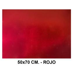 Goma eva metalizada liderpapel en formato 50x70 cm. de 60 grs/m². color rojo.