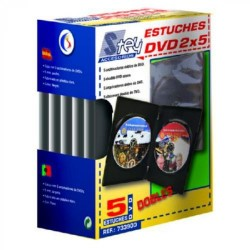 Pack de 5 estuches dobles de plástico stey para cd/dvd´s.