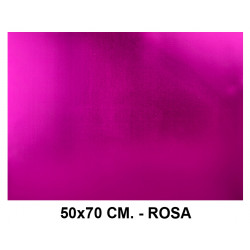 Goma eva metalizada liderpapel en formato 50x70 cm. de 60 grs/m². color rosa.