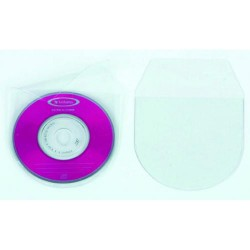 Fundas para cd/dvd´s transparentes en p.v.c. q-connect de 130x130 mm. con solapa, pack de 10 unidades.