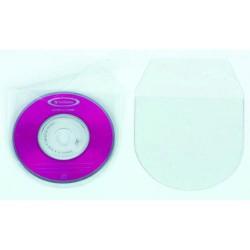 Pack de 100 fundas transparentes en p.v.c.de 100 micras iberplas en 130x130 mm. con solapa de cierre de 30 mm. para cd/dvd´s.