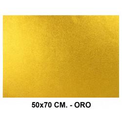 Goma eva con purpurina liderpapel en formato 50x70 cm. de 60 grs/m². color oro.