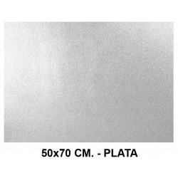 Goma eva con purpurina liderpapel en formato 50x70 cm. de 60 grs/m². color plata.