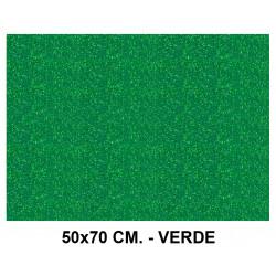 Goma eva con purpurina liderpapel en formato 50x70 cm. de 60 grs/m². color verde.