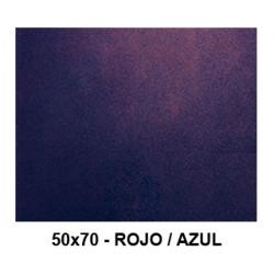 Goma eva con purpurina bicolor liderpapel en formato 50x70 cm. de 60 grs/m². color rojo / azul.