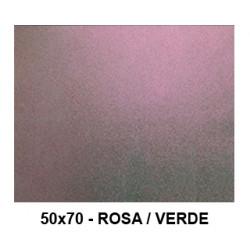Goma eva con purpurina bicolor liderpapel en formato 50x70 cm. de 60 grs/m². color rosa / verde.