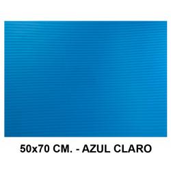 Goma eva ondulada liderpapel en formato 50x70 cm. de 60 grs/m². color azul claro.