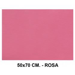 Goma eva ondulada liderpapel en formato 50x70 cm. de 60 grs/m². color rosa.