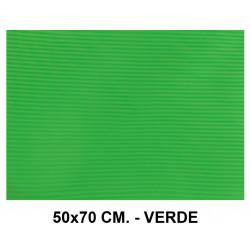 Goma eva ondulada liderpapel en formato 50x70 cm. de 60 grs/m². color verde.
