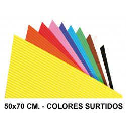 Goma eva ondulada liderpapel en formato 50x70 cm. de 60 grs/m². colores surtidos.