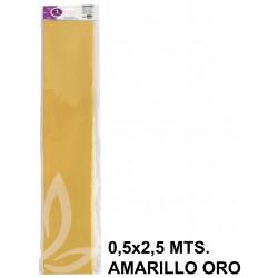 Papel crespón o pinocho de 0,5x2,5 mts. en color amarillo oro.