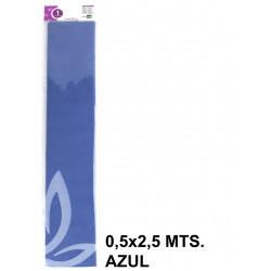 Papel crespón o pinocho de 0,5x2,5 mts. en color azul.