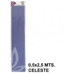 Papel crespón o pinocho de 0,5x2,5 mts. en color celeste.
