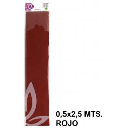 Papel crespón o pinocho de 0,5x2,5 mts. en color rojo.