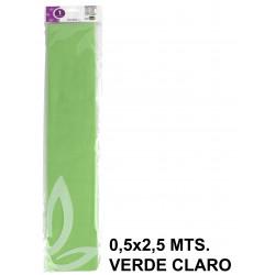 Papel crespón o pinocho de 0,5x2,5 mts. en color verde claro.