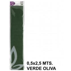 Papel crespón o pinocho de 0,5x2,5 mts. en color verde oliva.