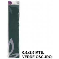 Papel crespón o pinocho de 0,5x2,5 mts. en color verde oscuro.