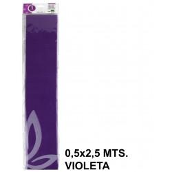 Papel crespón o pinocho de 0,5x2,5 mts. en color violeta.