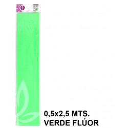 Papel crespón / pinocho liderpapel en formato 0,5x2,5 mts. de 34 grs/m². color verde flúor.