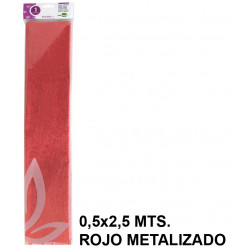 Papel crespón / pinocho liderpapel en formato 0,5x2,5 mts. de 94 grs/m². color rojo metalizado.