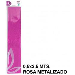 Papel crespón / pinocho liderpapel en formato 0,5x2,5 mts. de 94 grs/m². color rosa metalizado.