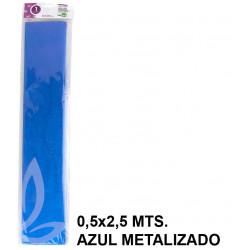 Papel crespón / pinocho liderpapel en formato 0,5x2,5 mts. de 94 grs/m². color azul metalizado.
