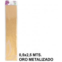 Papel crespón / pinocho liderpapel en formato 0,5x2,5 mts. de 94 grs/m². color oro metalizado.