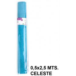 Papel crespón / pinocho liderpapel en formato 0,5x2,5 mts. de 85 grs/m². color celeste.