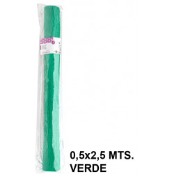 Papel crespón / pinocho liderpapel en formato 0,5x2,5 mts. de 85 grs/m². color verde.