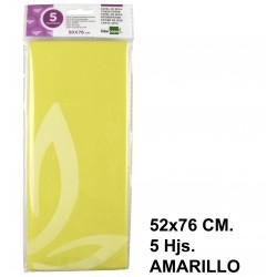 Papel de seda liderpapel de 52x76 cm. en color amarillo, bolsa con 5 hojas.