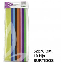 Papel de seda liderpapel en formato 52x76 cm. de 18 grs/m². colores surtidos, bolsa de 10 hojas.