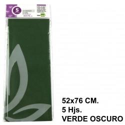 Papel de seda liderpapel en formato 52x76 cm. de 18 grs/m². color verde oscuro, bolsa de 5 hojas.