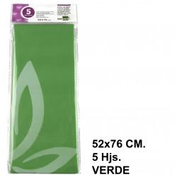 Papel de seda liderpapel en formato 52x76 cm. de 18 grs/m². color verde, bolsa de 5 hojas.